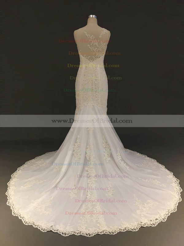 Tulle Trumpet/Mermaid Scoop Neck Court Train with Appliques Lace Wedding Dresses #DOB00022904