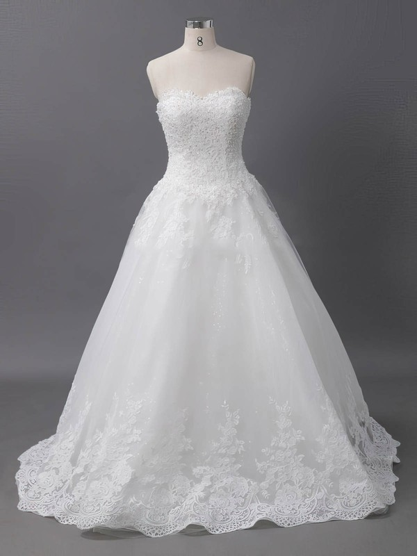 Tulle Ball Gown Sweetheart Court Train with Sequins Wedding Dresses #DOB00022905