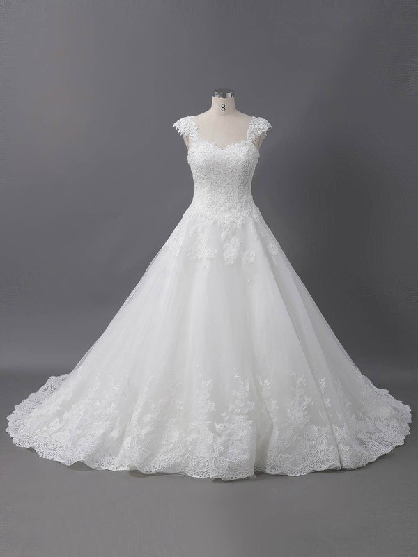 Tulle Ball Gown Sweetheart Sweep Train with Sequins Wedding Dresses #DOB00022907