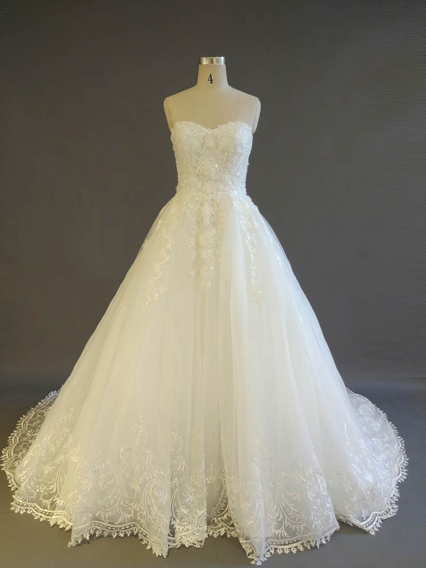 Tulle Ball Gown Sweetheart Court Train with Pearl Detailing Wedding Dresses #DOB00022908