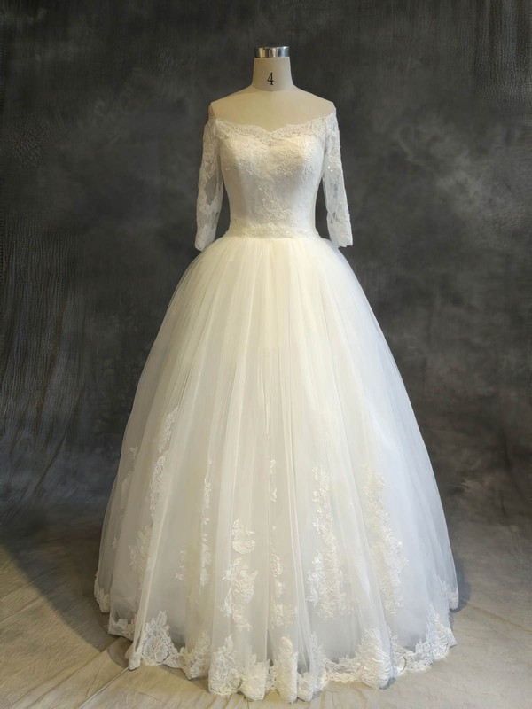 Tulle Ball Gown Off-the-shoulder Floor-length with Sequins Wedding Dresses #DOB00022910