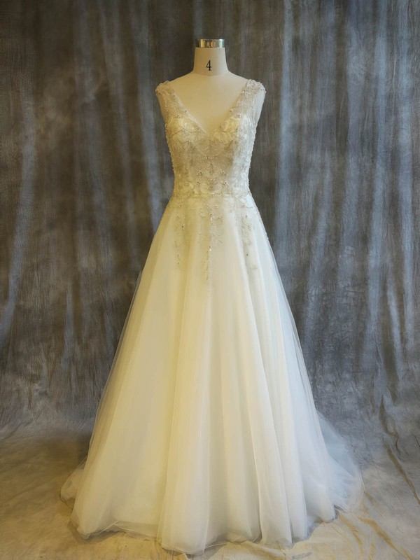 Tulle Princess V-neck Sweep Train with Pearl Detailing Wedding Dresses #DOB00022911