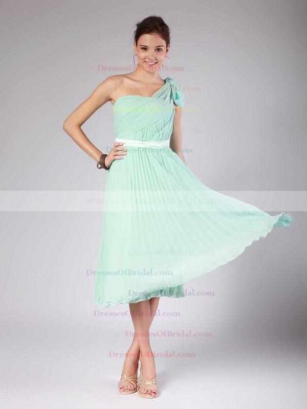 One Shoulder A-line Tea-length Chiffon Pleats Bridesmaid Dresses #DOB02013602