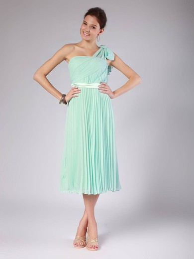 One Shoulder A-line Tea-length Chiffon Pleats Bridesmaid Dresses #DOB02013602