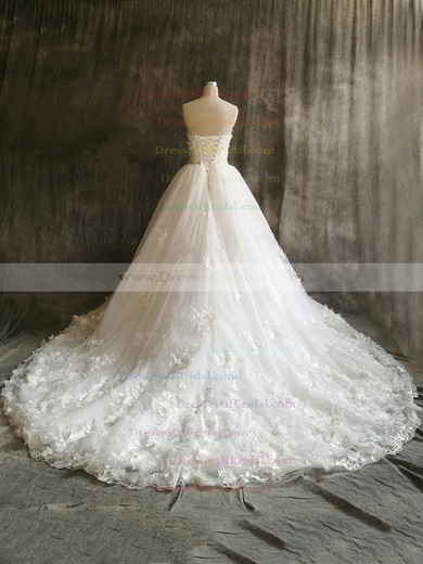 Tulle Ball Gown Sweetheart Court Train with Flower(s) Wedding Dresses #DOB00022912