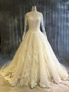 Tulle Ball Gown Scoop Neck Chapel Train with Appliques Lace Wedding Dresses #DOB00022913