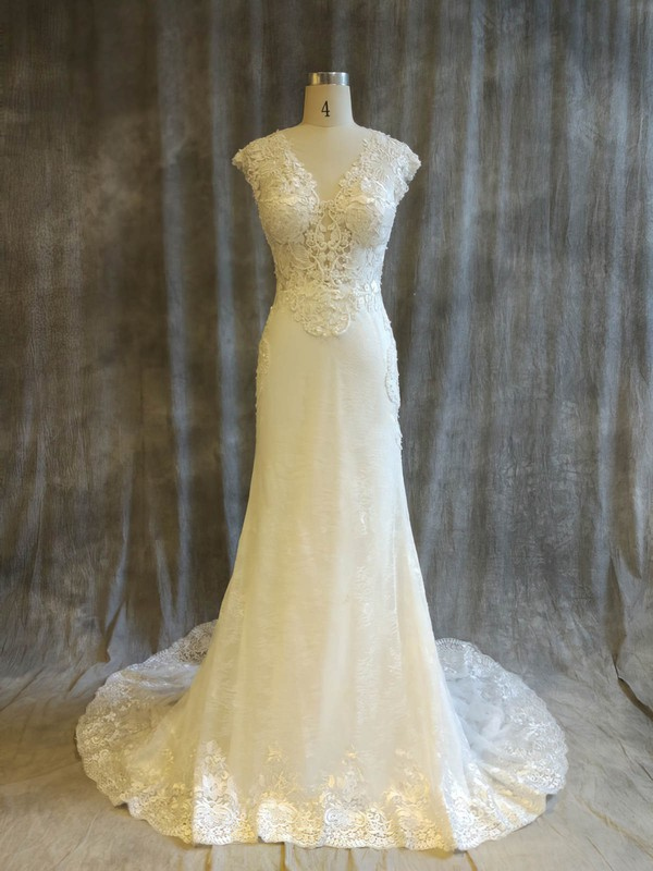 Tulle Lace Trumpet/Mermaid V-neck Chapel Train with Pearl Detailing Wedding Dresses #DOB00022914