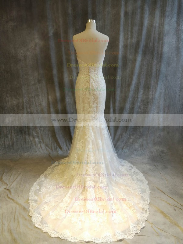 Tulle Trumpet/Mermaid Sweetheart Sweep Train with Appliques Lace Wedding Dresses #DOB00022915