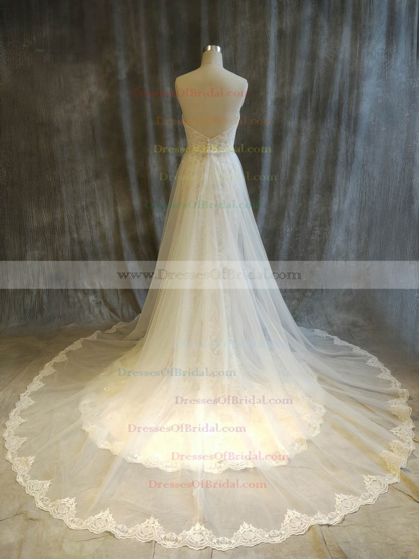 Tulle Lace Ball Gown Sweetheart Chapel Train with Beading Wedding Dresses #DOB00022916
