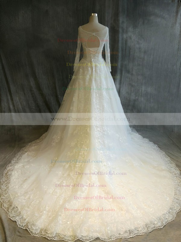 Tulle Ball Gown Scoop Neck Chapel Train with Sequins Wedding Dresses #DOB00022917