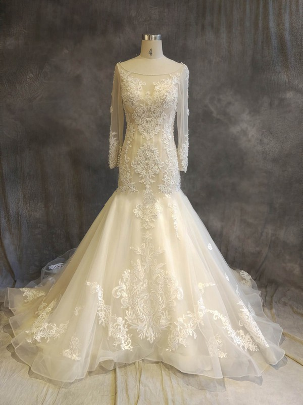 Organza Tulle Trumpet/Mermaid Scoop Neck Chapel Train with Appliques Lace Wedding Dresses #DOB00022918