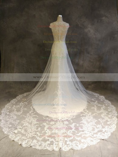 Tulle A-line Scoop Neck Chapel Train with Appliques Lace Wedding Dresses #DOB00022919