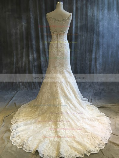 Tulle Lace Trumpet/Mermaid V-neck Sweep Train with Sequins Wedding Dresses #DOB00022920