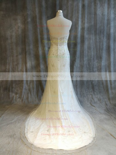 Tulle Trumpet/Mermaid Halter Sweep Train with Pearl Detailing Wedding Dresses #DOB00022921