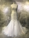 Tulle Trumpet/Mermaid Sweetheart Court Train with Pearl Detailing Wedding Dresses #DOB00022922