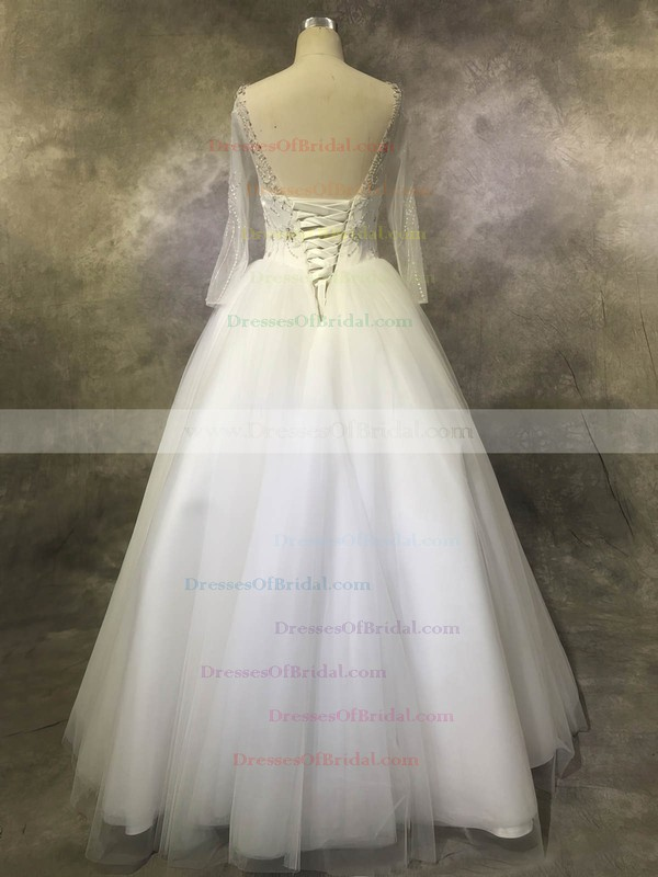 Tulle Ball Gown Scoop Neck Floor-length with Sequins Wedding Dresses #DOB00022923