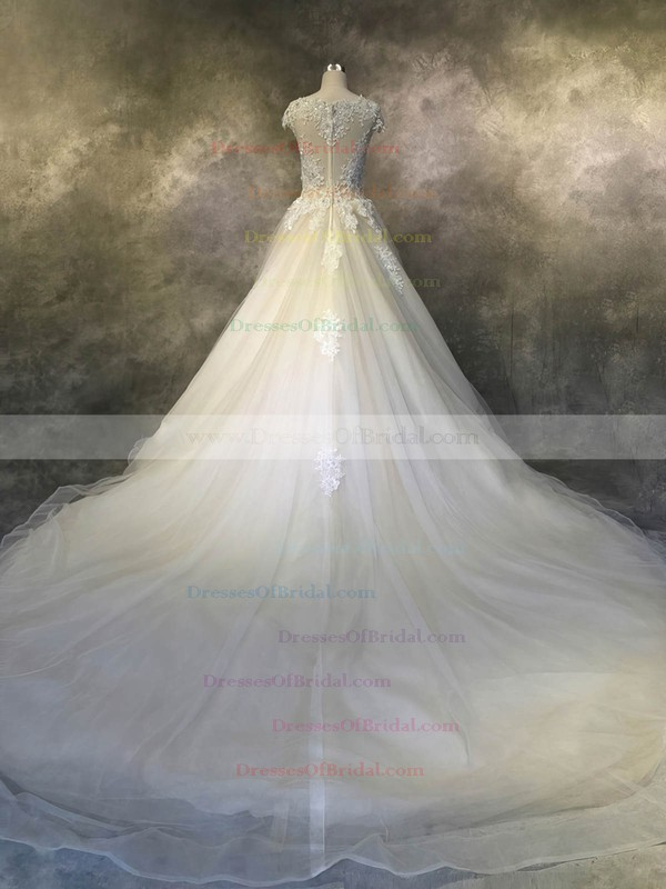 Tulle Ball Gown Scoop Neck Cathedral Train with Appliques Lace Wedding Dresses #DOB00022924