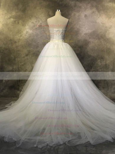 Tulle Ball Gown Strapless Court Train with Appliques Lace Wedding Dresses #DOB00022925
