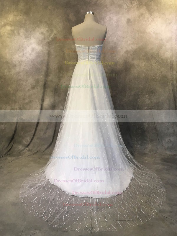 Tulle A-line Sweetheart Sweep Train with Ruffles Wedding Dresses #DOB00022926