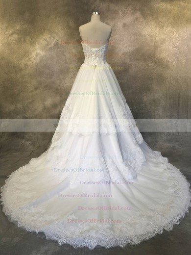 Tulle A-line Sweetheart Court Train with Appliques Lace Wedding Dresses #DOB00022927