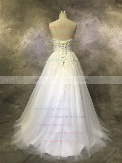 Tulle Ball Gown Sweetheart Floor-length with Sashes / Ribbons Wedding Dresses #DOB00022928