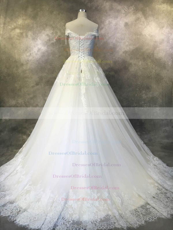 Tulle Ball Gown Off-the-shoulder Court Train with Beadings Wedding Dresses #DOB00022929