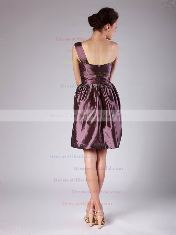 One Shoulder A-line Short/Mini Taffeta Pleats Bridesmaid Dresses #DOB02013605