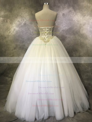 Tulle Ball Gown Sweetheart Floor-length with Crystal Detailing Wedding Dresses #DOB00022933
