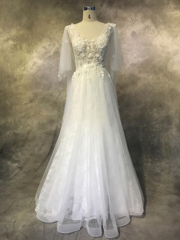 Tulle Lace A-line V-neck Court Train with Appliques Lace Wedding Dresses #DOB00022936