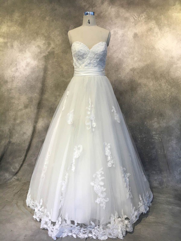 Tulle Princess Sweetheart Court Train with Sashes / Ribbons Wedding Dresses #DOB00022938