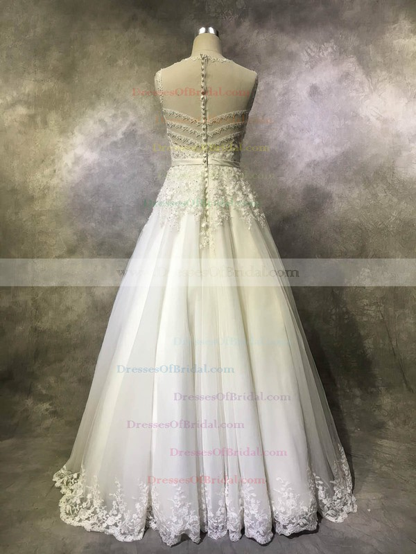 Tulle Princess Scoop Neck Floor-length with Sashes / Ribbons Wedding Dresses #DOB00022939