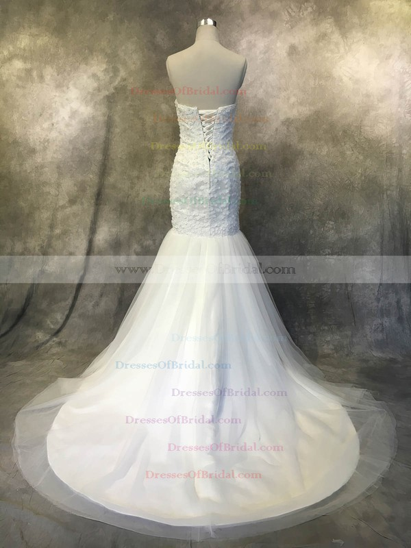 Tulle Trumpet/Mermaid Strapless Court Train with Flower(s) Wedding Dresses #DOB00022940