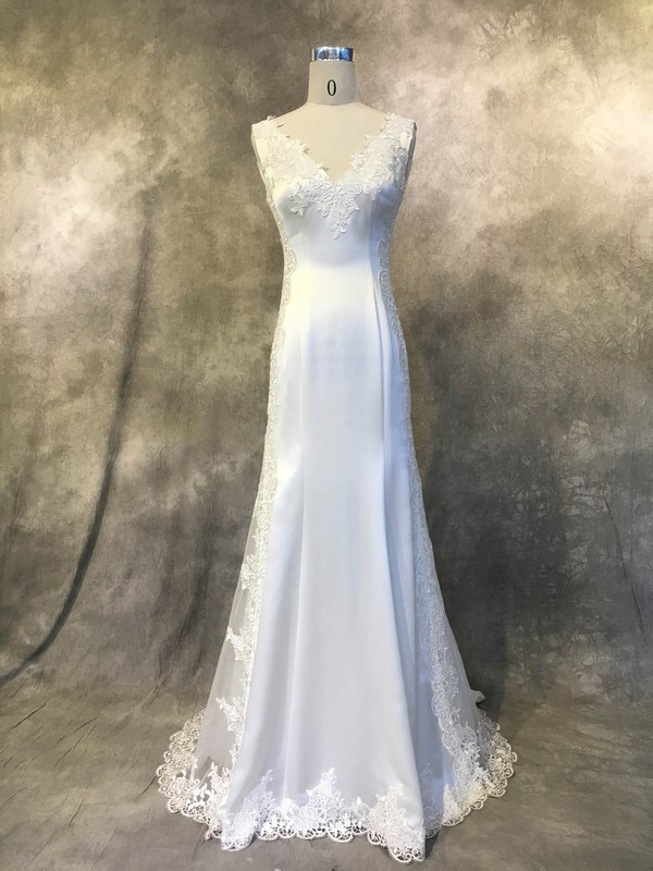Satin Tulle Trumpet/Mermaid V-neck Court Train with Appliques Lace Wedding Dresses #DOB00022941