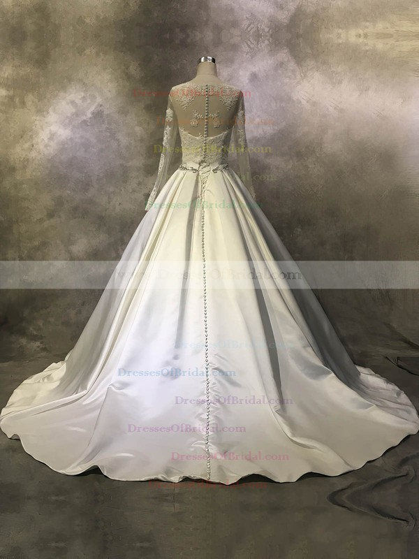 Satin Tulle Ball Gown Scoop Neck Court Train with Beading Wedding Dresses #DOB00022943