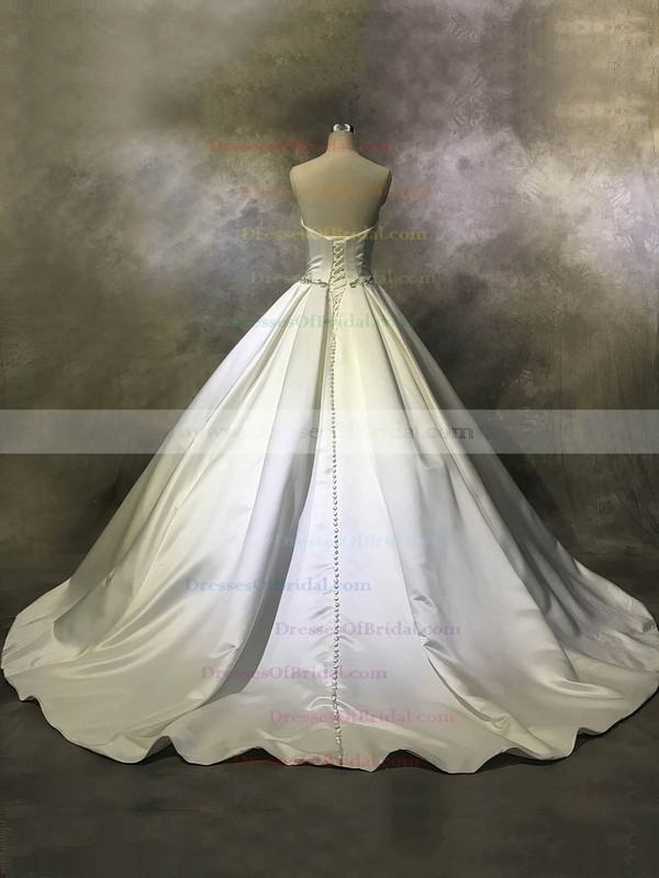 Satin Ball Gown Strapless Court Train with Buttons Wedding Dresses #DOB00022944