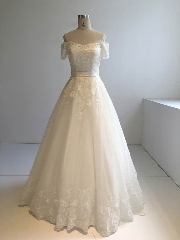 Tulle Ball Gown Off-the-shoulder Floor-length with Appliques Lace Wedding Dresses #DOB00022945