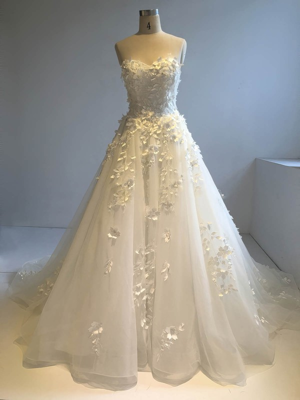 Organza Ball Gown Sweetheart Court Train with Sequins Wedding Dresses #DOB00022946