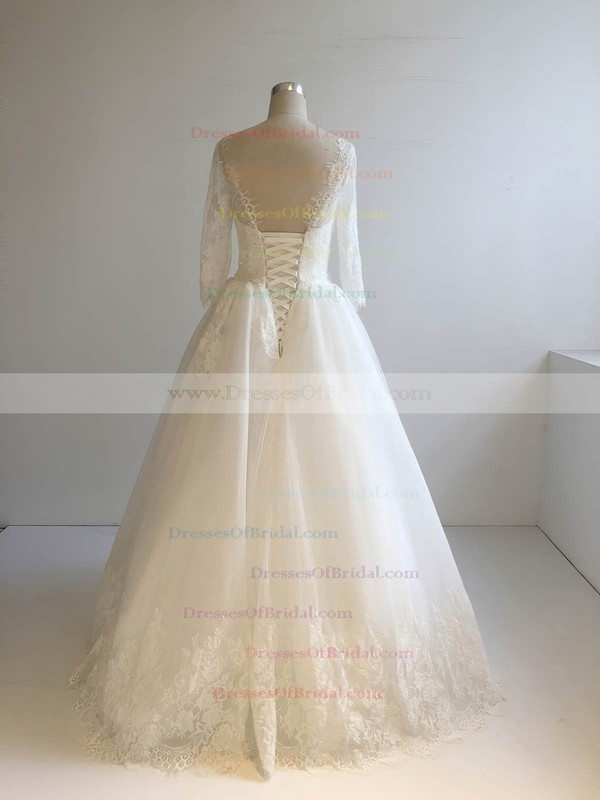 Tulle Ball Gown Scoop Neck Floor-length with Appliques Lace Wedding Dresses #DOB00022948