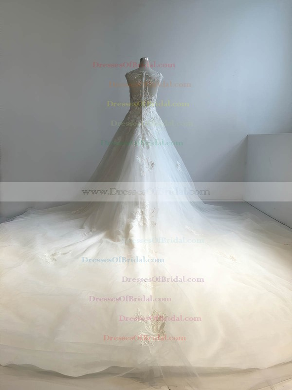 Tulle Ball Gown Scoop Neck Cathedral Train with Appliques Lace Wedding Dresses #DOB00022949