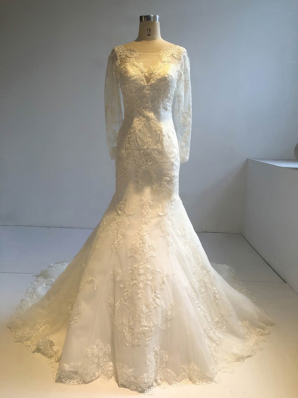 Tulle Trumpet/Mermaid Scoop Neck Court Train with Appliques Lace Wedding Dresses #DOB00022953