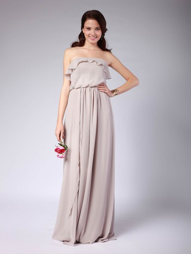 Strapless A-line Floor-length Chiffon Pleats Bridesmaid Dresses #DOB02013608