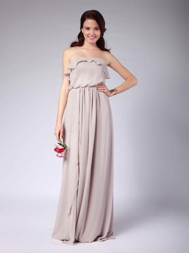 Strapless A-line Floor-length Chiffon Pleats Bridesmaid Dresses #DOB02013608