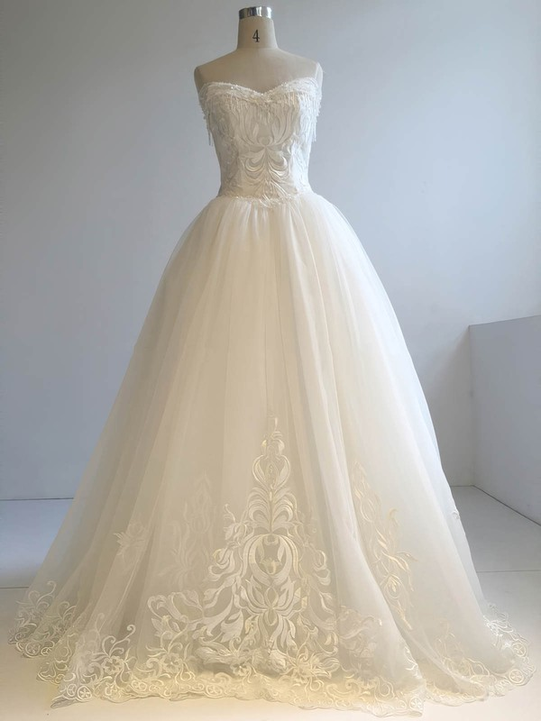 Tulle Ball Gown V-neck Floor-length with Beading Wedding Dresses #DOB00022955