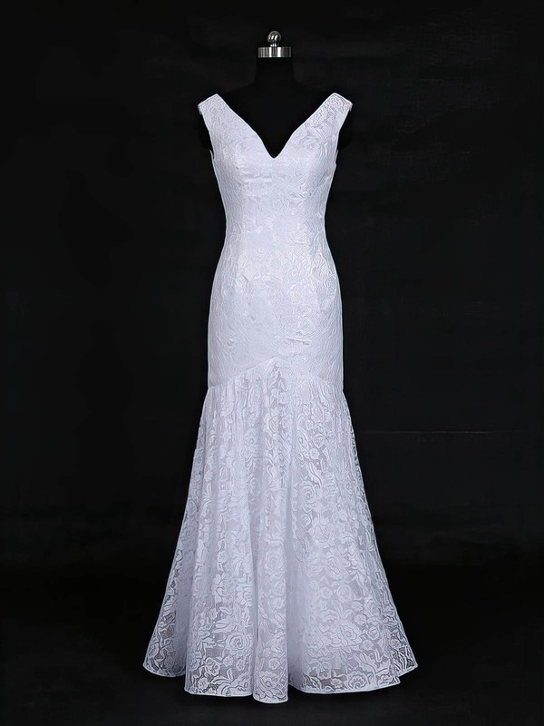 Lace Trumpet/Mermaid V-neck Floor-length with Ruffles Wedding Dresses #DOB00022956