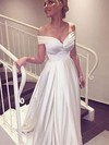 Satin A-line Off-the-shoulder Sweep Train with Ruffles Wedding Dresses #DOB00022957