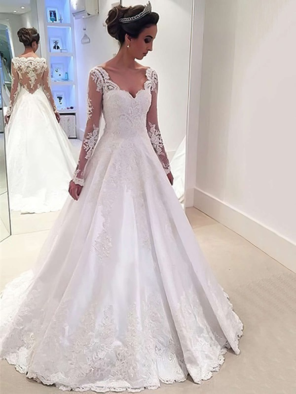 Satin Tulle Ball Gown V-neck Sweep Train with Appliques Lace Wedding Dresses #DOB00022958