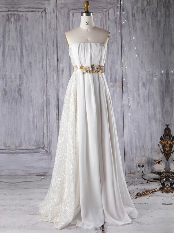Lace Chiffon Empire Strapless Floor-length with Sashes / Ribbons Wedding Dresses #DOB00022961