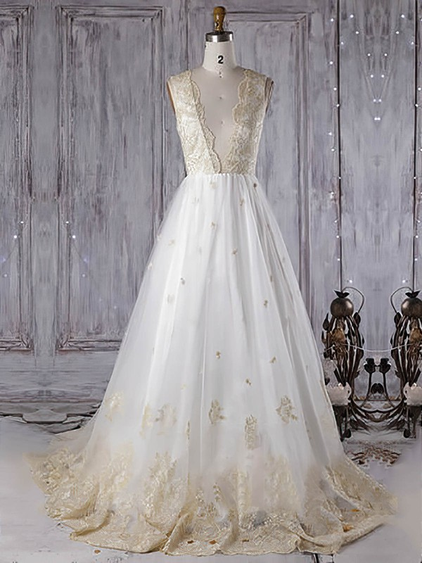 Tulle Princess Scoop Neck Sweep Train with Appliques Lace Wedding Dresses #DOB00022962