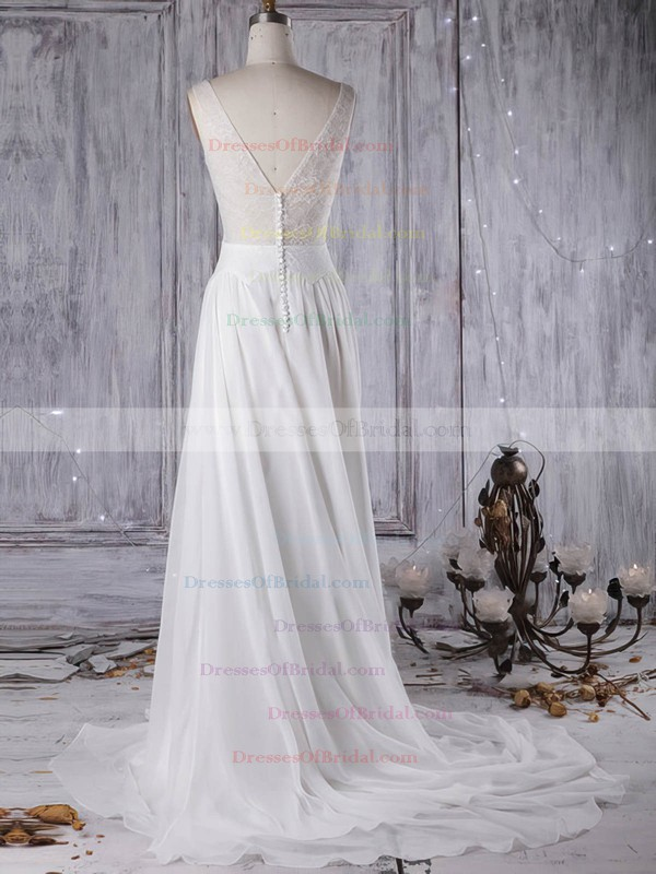 Tulle Chiffon A-line Scoop Neck Sweep Train with Lace Wedding Dresses #DOB00022963