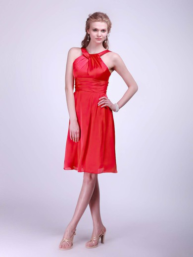 Halter Empire Knee-length Satin Sashes/Ribbons Bridesmaid Dresses #DOB02013610